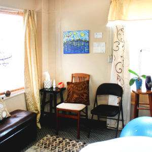 Interior picture of the massage room at Satori Massage in Ferndale, WA.
